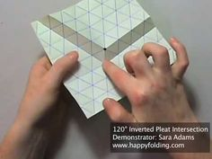 Origami Tessellation Basics: 120 Degree Inverted Pleat Intersection - YouTube