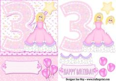 3rd Birthday Princess Card Front and Decoupage