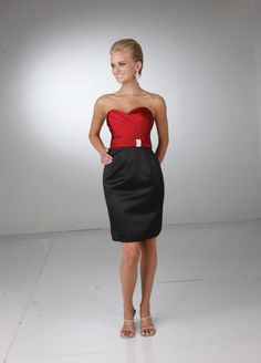 red and black bridesmaid dress