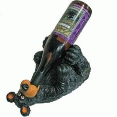 Because we all love to see a drunk bear ... Black Bear Wine Bottle Holder