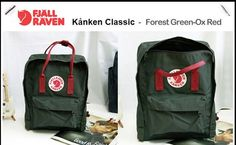 Fjallraven Kanken Classic Forest Green And Ox Red