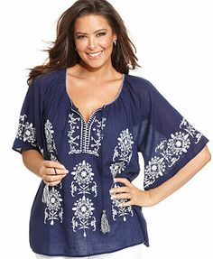 Elementz Plus Size Short-Sleeve Embroidered Peasant Top