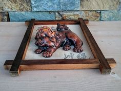 Koma Inu Shisa Wall Frame by CecysAsianShop on Etsy