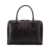 Maxwell Scott The Fiorella Croco Leather Ladies Briefcase Work Bag Night Black