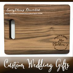 Engrave a Custom Cutting Board to Make a Wedding Gift that is both Cherished and a Keepsake! Custom Cutting Boards, Engraved Cutting Board, Personalized Cutting Board, Handmade Wedding Gifts, Custom Wedding Gifts, Engraved Picture Frames, Bridesmaid Glasses, Custom Mason Jars, Engraved Gifts