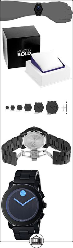Movado Men's 42mm Black Plastic Stainless Steel Case Quartz Watch 3600099  ✿ Relojes para hombre - (Lujo) ✿