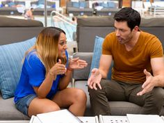 Plans Aplenty : What better place to brainstorm ideas for a haunted house than poolside in Sin City. Here Tia and Drew share their ideas for ways to up the scare factor on set.