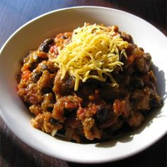 "Slow Cooker Pumpkin Turkey Chili | ""I created a special sour cream mixture by mixing 3 parts sour cream to 1 part pumpkin puree and added a little chipotle chile powder. This really made the dish! """