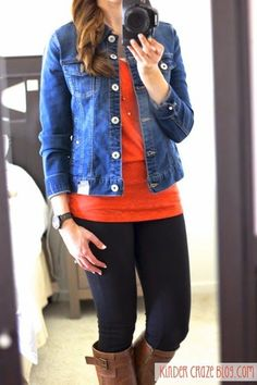 blue jean jacket , red shirt and black pant combo