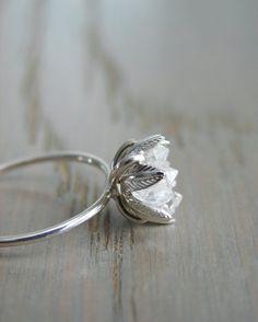 Raw Herkimer Diamond Ring Organic Natural Stone Jewelry Raw Crystal Ring for Her Engagement Ring Wife Anniversary Girlfriend Gift Diamond Wedding Rings, Diamond Rings, Solitaire Diamond, Wedding Bands, Solitaire Engagement, Diamond Art, Diamond Flower, Wedding Venues, Uncut Diamond