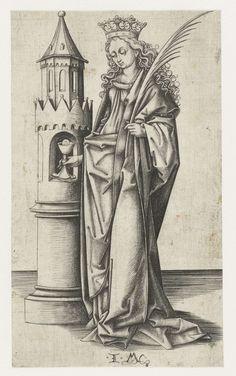 Israhel van Meckenem | Heilige Barbara, Israhel van Meckenem, 1455 - 1503 | De Heilige Barbara staat naast een toren, een kelk met een hostie in de ene hand, een palmtak in de andere hand.