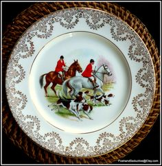 English fine bone china set of hand-painted dinner plates with English countryside foxhunting, equestrian scenes is collector's desirable pick of equestrian exquisite bone china to own stunningly decorated with real 24 karat gold lace filigree pattern against the rim. #Ascotracecourse #horseracing #equestrian #foxhunting #horses #Ascot