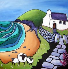 ARTFINDER: Mwnt - 3 sheep by Helen Elliott - Here is a painting of another of my secret places - Mwnt, on the Ceredigion coast - about half an hour from my studio. This painting shows just three of the ...