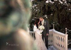 Winter bride and groom by Cinderella gazebo #BlackHillsReceptions