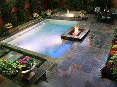 For small yards, small swimming pools, small backyard pools, slop Pools For Small Yards, Backyard Ideas For Small Yards, Small Swimming Pools, Sloped Backyard, Small Backyard Pools, Swimming Pools Backyard, Swimming Pool Designs, Garden Pool, Backyard Patio