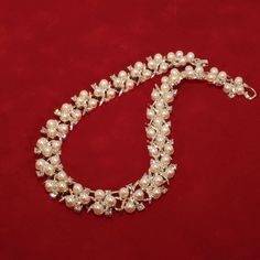 Vintage Silver Tone Simulated Pearl and Clear Rhinestone Necklace