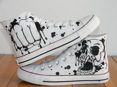 Cool Fashion Skull Design Custom Converse by EmilyTamHandPainting, $100.00