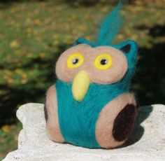 Needle Felted Owl Ornament Soft Sculpture Owl by TheRovingArtist, $30.00