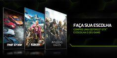 Faça sua escolha: lançamentos da Ubisoft grátis na compra de placas GeForce GTX - http://showmetech.band.uol.com.br/nvidia-oferece-gratuitamente-lancamentos-da-ubisoft-na-compra-de-placas-geforce-gtx/