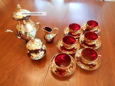 Italian Venetian Gold Gild Ruby Red Tea Set Murano Photos and Information in AncientPoint Teapots And Cups, Gold Gilding, Tea Service, Coffee Set, My Tea, Tea Accessories, Tea Ceremony, Ruby Red, Murano Glass
