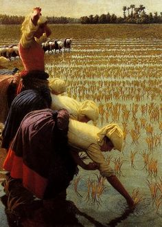 In the rice fields. Angelo Morbelli.