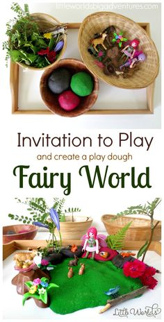 Invitation to Create a Play Dough Fairy World | Read all about our fairy small world and how you can set up the perfect invitation to play for YOUR child today! | Little Worlds Big Adventures
