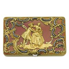 A Fabergé jewelled gold and guilloché enamel snuff box, workmaster Michael Perchin, St. Petersburg, 1899-1903, rectangular, the lid centred with a pastoral subject, enamelled in translucent cherry-blossom pink over radiating engine-turning, mounted with gold rocaille cagework accentuated with rose-cut and old mine diamonds, diamond-set thumbpiece, the base with undulating sunburst engine-turning and formerly enamelled.