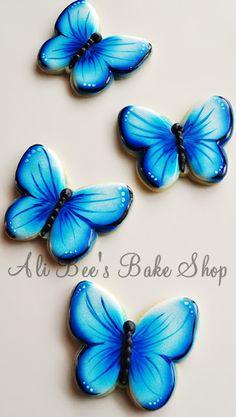 Blue Butterflies cookies ~ tutorial