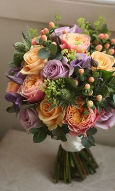Wonderful combination of flowers and colors ! Bride Bouquets, Flower Bouquet Wedding, Floral Bouquets, Floral Wedding, Lilac Wedding, Exotic Flowers, Faux Flowers, Beautiful Flowers, Tropical Flowers