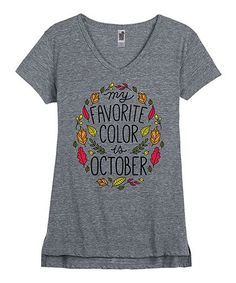 454cb85cc66 Instant Message Women s Athletic Heather  My Favorite Color Is October  V-Neck  Tee - Women
