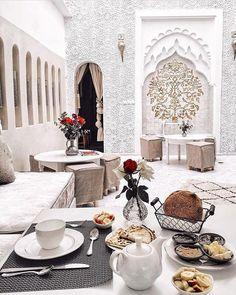 Riad in Morocco, very elegant color scheme!