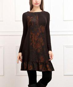 Love this Brown & Black Patchwork Shift Dress - Women by Reborn Collection on #zulily! #zulilyfinds