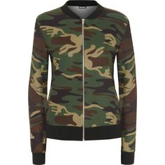 Blaire Camo Bomber Jacket (725.700 VND) ❤ liked on Polyvore featuring outerwear, jackets, green, zip up jacket, green flight jacket, bomber style jacket, camoflauge jacket und camo bomber jacket
