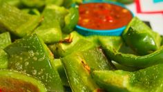 Instead of using chips and crackers for dips, spray a couple green peppers with pam and sprinkled a Tsp of Garlic Powder on top. bake them in the oven for 10 minutes on 400!