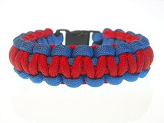 REVERSIBLE 2TONE Tactical Wristband  Survival Bracelet Red Blue Size 8 12 USA Paracord -- Click image to review more details.