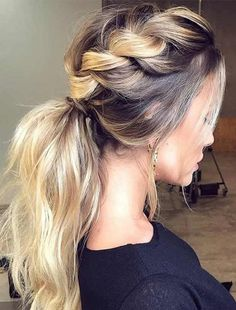 Braided Ponytail Long Ombre Hairstyles