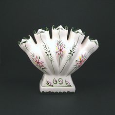 Vintage Five Finger Vase in White, Handpainted Flowers, Made in Portugal, 7x9 Inches