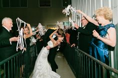 Bride and Groom Exit with streamers in Dallas from Blog - RENT MY DUST Vintage Rentals. Photos by Havi Frost.  #weddingexit