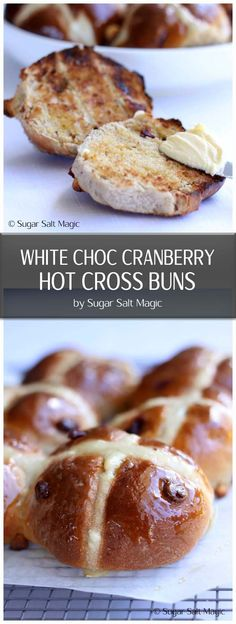 Homemade Hot Cross Buns filled with Cranberries and White Chocolate. The perfect Easter breakfast or Easter brunch #hotcrossbuns #cranberrywhitechocolate via @sugarsaltmagic