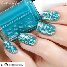 Double stamped nails with metallic by @betternailday on instagram