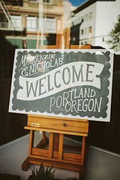 welcome sign...   A Handcrafted Portland Wedding | Etsy Weddings BlogEtsy Weddings Blog