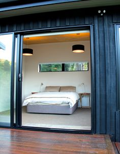 Architecture - Marlborough Sounds Bach, Eco-friendly bach design in the Sounds. Eco Cabin, Tiny House Cabin, Container House Design, Container Homes, Shed Homes, Cabin Homes, Bungalow Designs, Mobile Home Exteriors, Marlborough Sounds