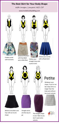 Whats the best skirt for your body shape? See blog comments for more detailed explanations.