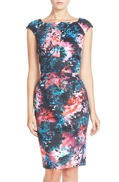 Free shipping and returns on French Connection 'Lolo' Stretch Cotton Sheath Dress at Nordstrom.com. A mesmerizing kaleidoscopic print saturates a sleek, figure-skimming dress cut from stretchycotton fabric in a collarbone-grazing, cap-sleeve silhouette.