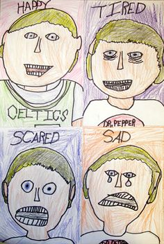 "Students created several ""self portraits"", each with a different facial expression. They used mirrors to look for subtle changes in their facial features as they modeled different expressions and feelings."