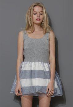 Striped and Organza Sleeveless Mini Dress in Grey