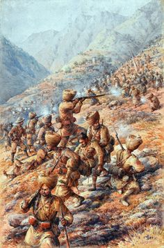 British; 35th (Sikh) Regiment of Bengal Infantry, Malakand Field Force, repelling an attack by tribesmen, 1897. Watercolour by Major Edmund Hobday RA, 1900.