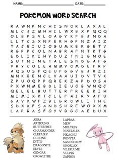 Pokemon Word Search Printable                                                                                                                                                                                 More