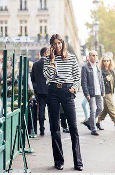 Géraldine Saglio ... striped knit and Gucci