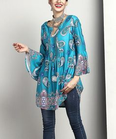 Loving this Blue Paisley Notch Neck Bell-Sleeve Tunic on #zulily! #zulilyfinds